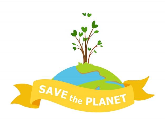 Speichern sie den planeten illustration