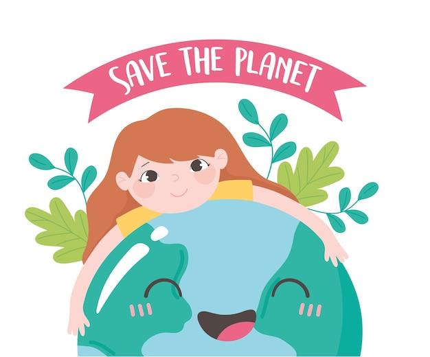 Speichern sie den planeten, kleines mädchen, das erdkarte umarmt, verlässt emblemkonzeptvektorillustration
