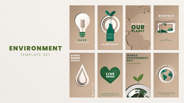 Speichern sie den planetenvorlagenvektor für das kampagnenset zum weltumwelttag