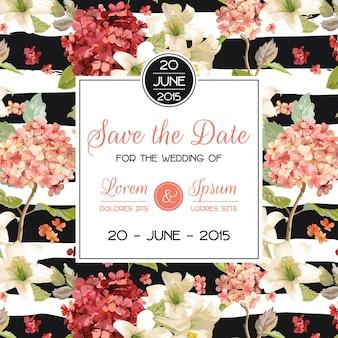 Speichern sie die datums-herbst- und sommer-blumenkarte im aquarell-stil. vintage hortensienblumen