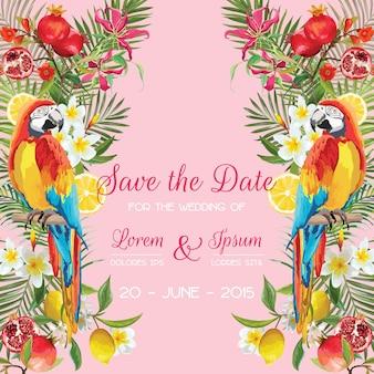 Speichern sie die datums-hochzeitskarte mit tropischen blumen, früchten, papageienvögeln. blumenhintergrund