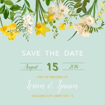 Speichern sie die datums-sommer- und frühlingsblumenkarte im aquarell-stil. vektor vintage feldblumen