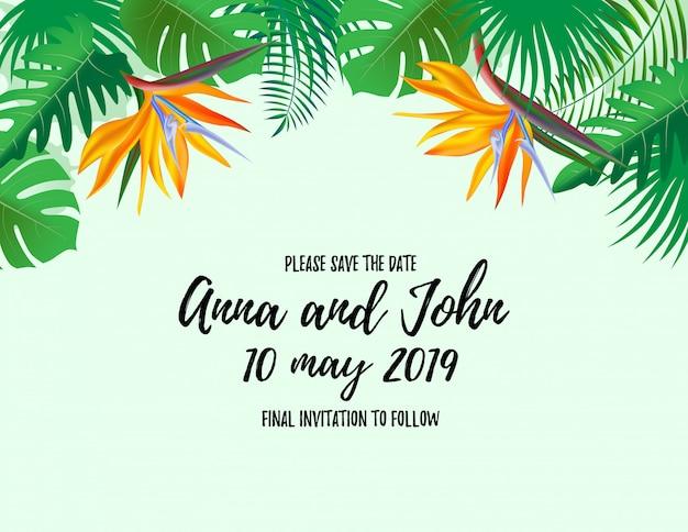 Speichern sie die datums-willkommenskarte mit palmpflanzen
