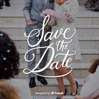 Speichern sie die datumsbeschriftung auf fotohintergrund