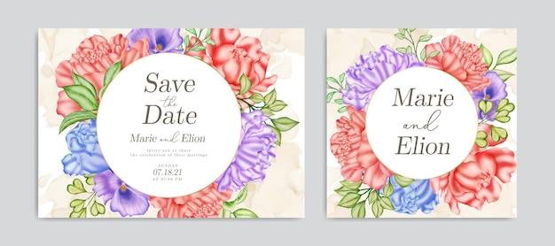 Speichern sie die datumseinladung mit elegantem aquarellblumenornament