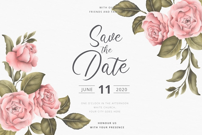 Speichern sie die datumseinladungskarte mit vintagen pfingstrosen