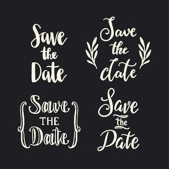 Speichern sie die datumshochzeits-beschriftungssammlung