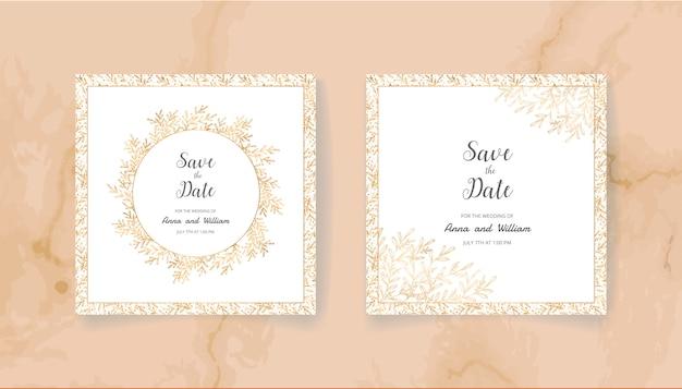 Speichern sie die datumshochzeits-einladungskarte mit goldenen blättern und niederlassungen