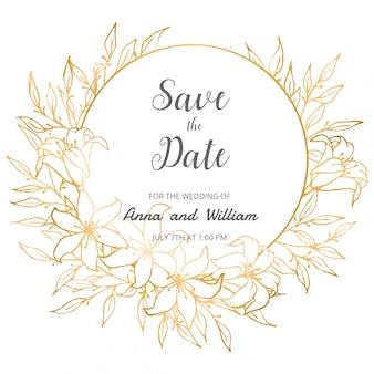 Speichern sie die datumshochzeits-einladungskarte mit goldenen blumen, blättern und niederlassungen