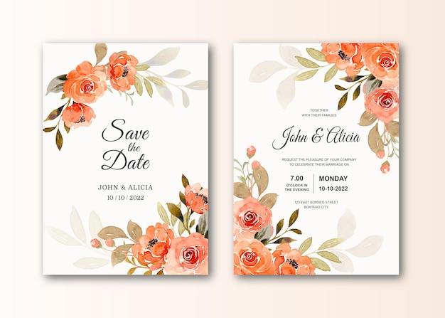 Speichern sie die datumshochzeitseinladungskarte mit aquarellrosenblume
