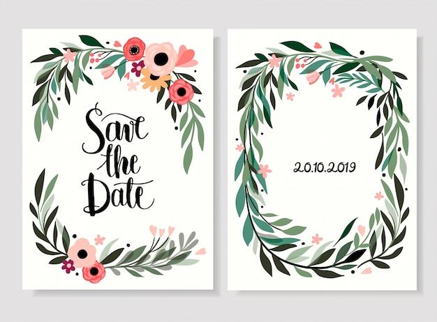Speichern sie die datumskarte / einladung mit hand gezeichneter blumen- und handbeschriftung