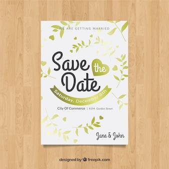 Speichern sie die datumskarte mit goldenen pflanzen
