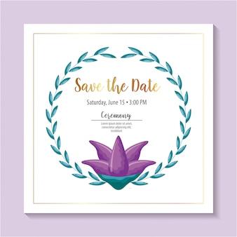 Speichern sie die datumskarte mit lila blumen und laub