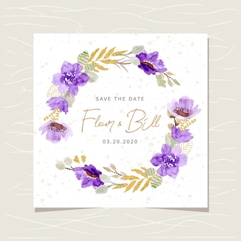 Speichern sie die datumskarte mit lila goldblumenaquarellkranz