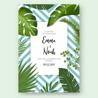 Speichern sie die datumskarte mit tropischen exotischen blättern