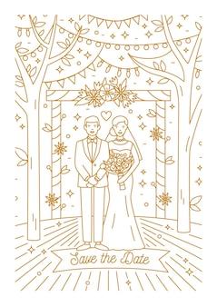 Speichern sie die datumskartenschablone mit braut und bräutigam, die mit konturlinien gezeichnet werden