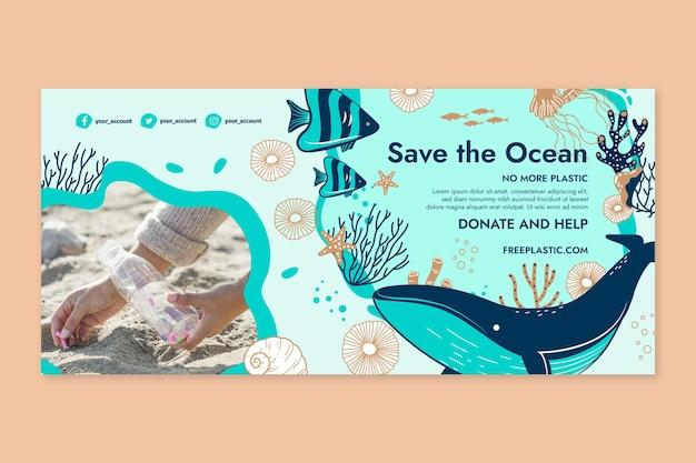 Speichern sie die horizontale banner-vorlage des ozeans
