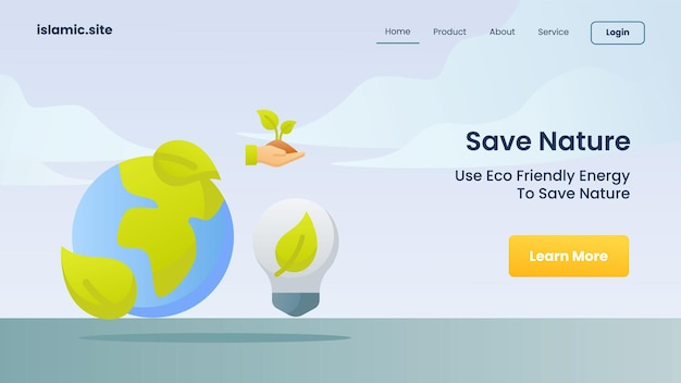 Speichern sie die natur, verwenden sie umweltfreundliche energie, um die natur für die landing-homepage der website-vorlage zu retten, flach isolierte hintergrundvektor-designillustration