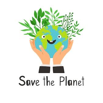 Speichern sie die planetenkarte mit händen, die erde mit pflanzen halten