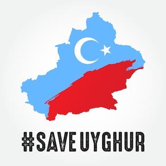 Speichern sie die uigurische illustration mit der uigurischen karte