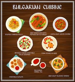 Speisekarte, gerichte und mahlzeiten der bulgarischen küche