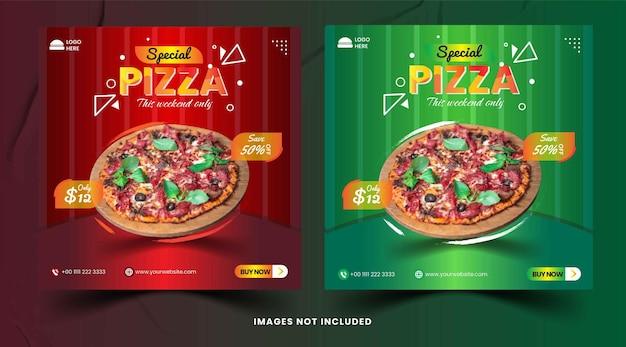 Speisekarte und leckere pizza social media banner vorlage