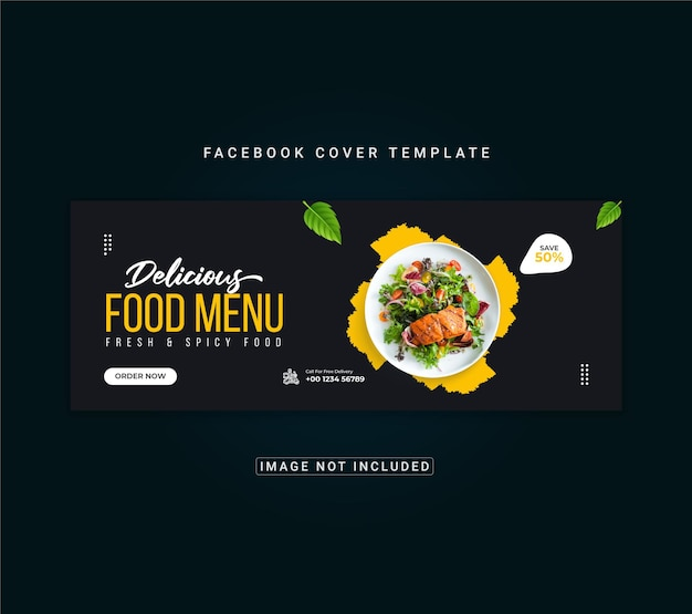 Speisenkarte und restaurant-facebook-cover-banner-vorlage