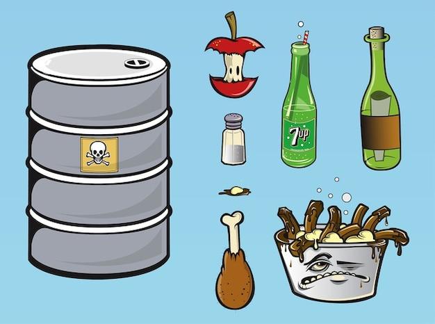 Speisereste und softdrink-flasche vektor