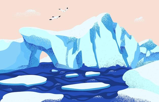 Spektakuläre arktische oder antarktische landschaft. schöne landschaft mit großen eisbergen, die im ozean und in den möwen schwimmen