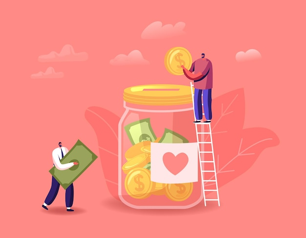 Spende, freiwilligen-wohltätigkeitsillustration. winzige männliche charaktere stehen auf der leiter werfen sie münzen und scheine