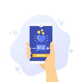 Spenden-app, telefon in der hand,