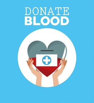 Spenden blut hand hält herz