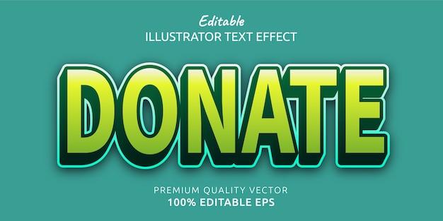 Spenden sie einen bearbeitbaren textstileffekt