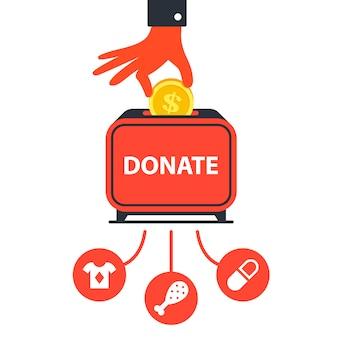 Spenden sie geld für wohltätige zwecke, um menschen zu helfen. flache vektor-illustration