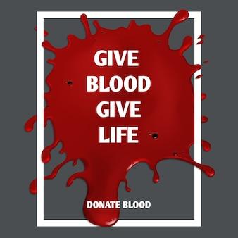 Spenden sie medizinisches plakat der blutmotivation. freiwillige illustration der spende und der medizin