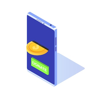 Spenden sie online isometrisches konzept. smartphone mit goldmünzen und schlüssel spenden.