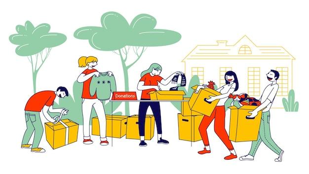 Spenden- und wohltätigkeitskonzept. karikatur flache illustration Premium Vektoren