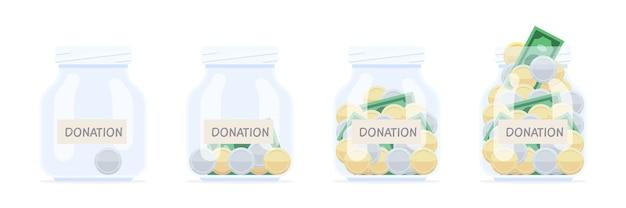 Spendenbanken mit geldmünzen und banknoten. das konzept der nächstenliebe. ansammlung von trinkgeldern und spenden.