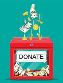 Spendenbox mit goldenen münzen und dollarbanknoten. wohltätigkeits-, spenden-, hilfe- und hilfskonzept.