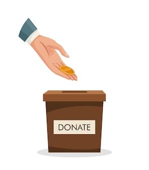 Spendenbox mit menschlicher hand goldene münze einlegen, geld. mann wirft goldmünze in einen karton