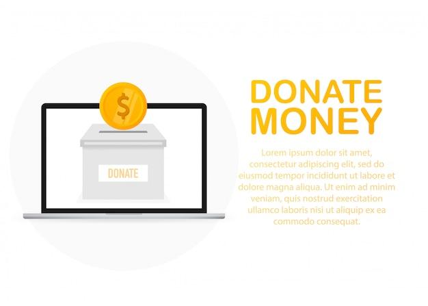 Spendenbox-symbol im flachen stil isoliert