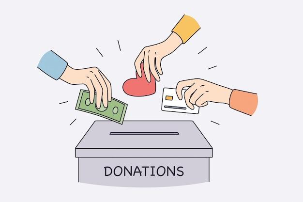 Spendenbox und charity-konzept. menschliche hände, die geld, bargeld, liebe und herz in die spendenbox stecken, und helfen dabei, wohltätigkeitsvektorillustrationen zu tun