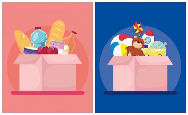 Spendenboxen mit lebensmitteln und spielzeug