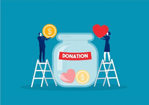 Spendenflasche mit goldenen münzen und dollarbanknoten. wohltätigkeit, spendenhilfe und hilfskonzept. illustration