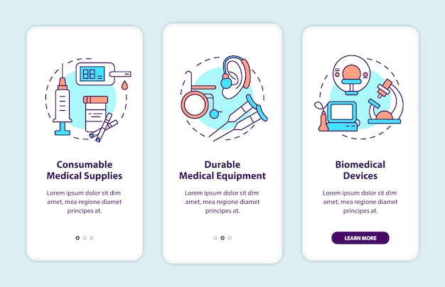 Spendenkategorien für medizinische produkte beim onboarding der mobilen app-seitenseite Premium Vektoren