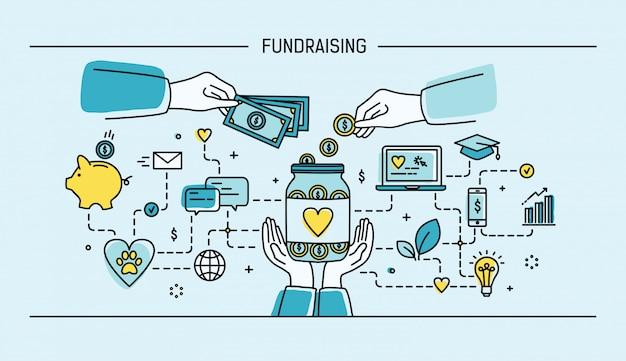 Spendensammlung. flache illustration der strichgrafiken. bunt.