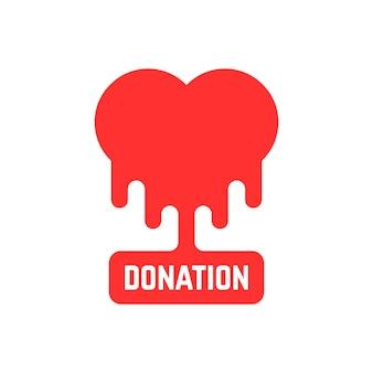 Spendensymbol mit blutendem herzen. konzept der philanthropie, stiftung, humanismus, laborkrankenhaus, freiwilliger. isoliert auf weißem hintergrund. flacher stil trend moderne markendesign-vektorillustration