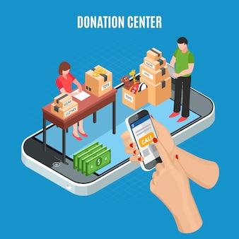 Spendenzentrum isometrisch mit mobiler app für anruf und mitarbeiter, die pappkartons der vektorillustration der karitativen gegenstände sortieren