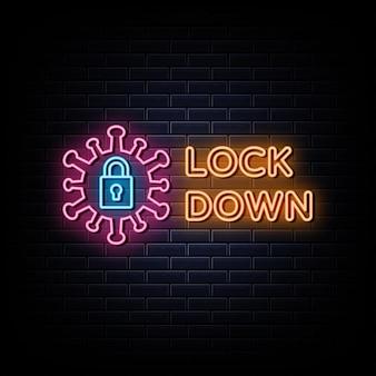 Sperren sie neon-logo-leuchtreklame und -symbol