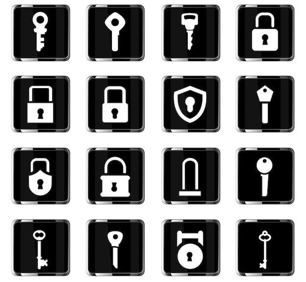 Sperren sie websymbole für das design der benutzeroberfläche